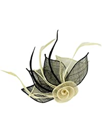 4479 2 Tone coloured hessian netted rose with 3 petals fascinator on beak clip & brooch pin Wedding