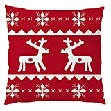 Leinen Kissenbezug,Vovotrade Rote Vintage Weihnachten Leinen Baumwolle kissenhülle Weihnachten Rentier Bettkissenbezug Pillowcase Home Decor Auto Deko \n\n