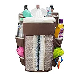 Baby Diaper Caddy & Nursery Organizer - 17 X 13.5 Inches - Durable, Safe Material - 40 Diaper Capacity - 8 Compartments Of Various Sizes That Can Hold All Baby Essentials - Sturdy Hooks For Easy Use