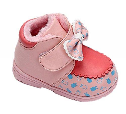EOZY Bébé fille Chaussure Souple Hiver Chaud PU Cuir Antiglisse Motif Nœud Papillon 24 Rose Pâle