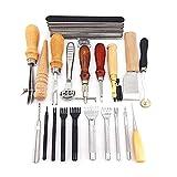 Hrph 20 PCS Lederhandwerk Hand Made Nähen Werkzeug-Set Kit Craft Leder Werkzeug-Groover Beveler Ahle Stanzmesser