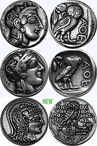 Athena, Goddess of Wisdom, Three Coins, Three Different Versions, of Athena and Her Owl (3ATH-S)