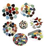 ALEA Mosaic Mosaik Buntmix 1500 Stück, Rund Grusse und Klein, Mond, Blume, Spade, Herz und Mini Bits
