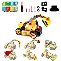 Amy & Benton Take Apart Toy, 7 in 1 Construction Vehicles Set to Assemble, 68 PCS DIY Building Trucks Toy Build Your Own Car Kit with Screws