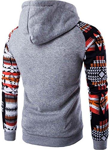 jeansian Uomo Moda Ethnic Stile Con Cappuccio Pullover Casuale Felpe Maglione Sport Tops 88G1 LightGray
