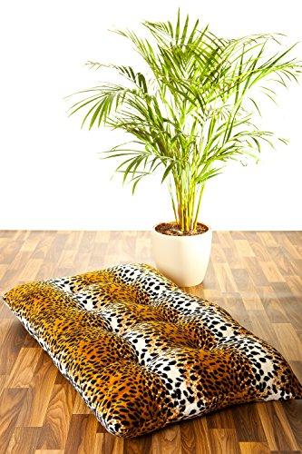 XXL Kissen Tierfellmotiv Sitzkissen Hundekissen Dekokissen 100 x 60 cm - Leopard (Leopard Kissen)