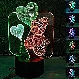Yeehor Luce notturna 3D Palloncino orso LED 7 colori che cambiano USB Touch Scrivania Lampada da tavolo Luce notturna come decorazioni per feste da casa Luci Miglior giocattolo regalo