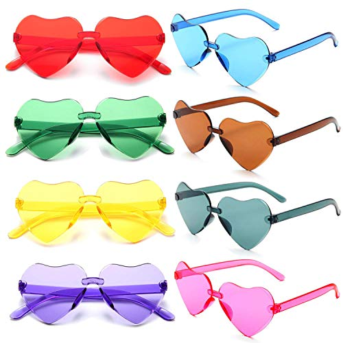 FSMILING Bunte Transparent Herz EIN Stück Randlose Party Sonnenbrille für Damen Herren Kinder (8 Stück Herzchen Sonnenbrille)