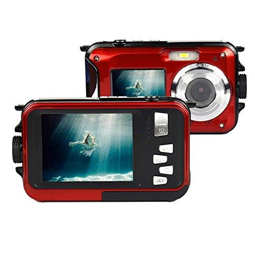 Unterwasser-Kamera Stoga CGT001 Doppelbildschirme Wasserdichtes Digital-Videokamera 2.7-Zoll-Front LCD mit 2,7-Zoll-Kamera Einfache Selbstschuss Kamera-Rot
