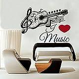 IncredibleWallDecals Stickers muraux Musique Autocollant Guitare en Vinyle Musical Motif Autocollant école Studio Home Decor Salle de Chambre à Coucher Notes Art Murals Us28...