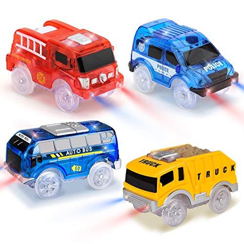 Funkprofi Spielzeugautos für Kinder ab 2 Jahre alt, 4 Pack Kinderspielzeug Auto Track Cars mit 5 LED Lichter Rennauto Rennwagen Leuchtender Elektrischer Eisenbahnwagen