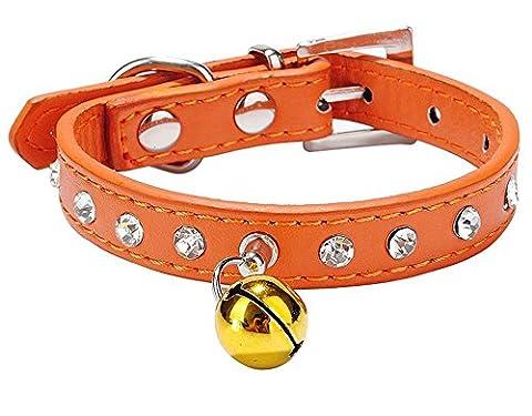 Leetop Einstellbar Leder Hund Welpen Katze Halsbänder Halskette Hals,mit Glocke Strasssteinen(Orange)