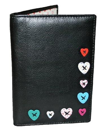 Mala style pour passeport en cuir Lucy 20930Motif coeur - noir - S/M