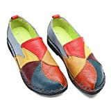 Socofy Mocassins Femme, Chaussures de Ville en Cuir Talon Plate Loafters Slip On A...