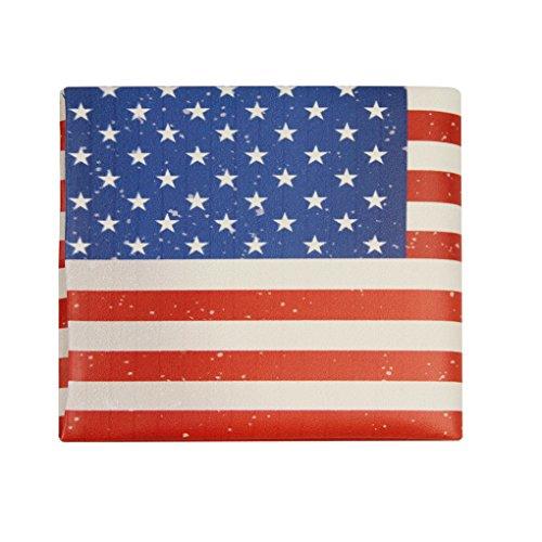 Vintage Geldbörse Portemonnaie Lederbörse Herren Damen Börse USA Flagge Stil Geldtbeutel Brieftasche Kreditkartenetui