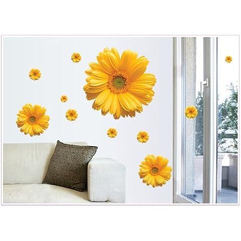 zooarts giallo romantico margherite rimovibile Wall Stickers Art Decor vinile decalcomanie home Room murale