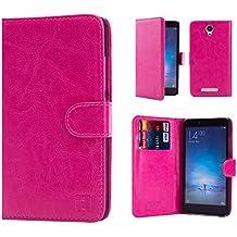 Xiaomi Redmi Note 2 Funda Carcasa Flip de Piel PU Tipo Libro Billetera con Tapa y Tarjetero de 32nd®, incluye protector de pantalla y lapiz optico- Rosa