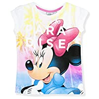 Disney Minnie Mouse Girls Short Sleeve Top T-Shirt 100% Cotton Large Print - New 2017 - White 4