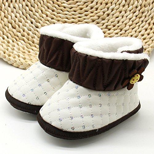 Zhuhaitf Ausgezeichnet Toddler Winter Warm Soft Sole Shoes Baby Girls Flowers Non-slip Snow Boots Coffee