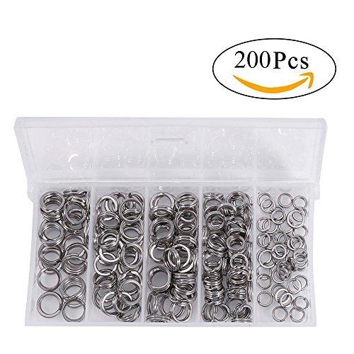 Edelstahl Split Ring Köderring 200 Stück/ Box für Angeln Fischen