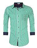 Clearlove Trachtenhemd Herren Hemd Slim Fit Kariert Freizeithemd - für Oktoberfest & Freizeit & Business,Green,40