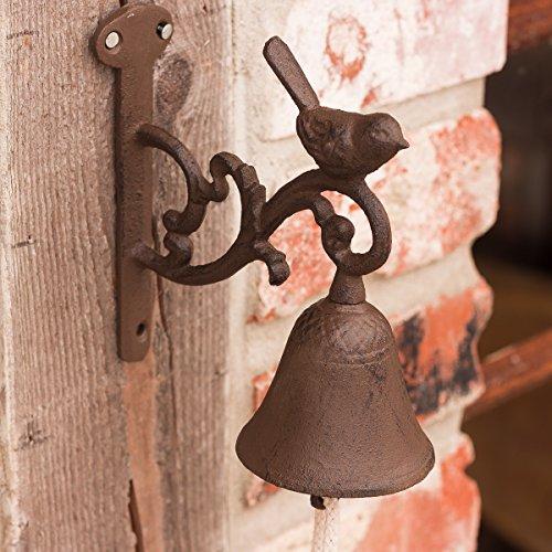 Antikas - Gartenglocke mit Vogel, Glocke fürs Gartenhaus, Türglöckchen mit Vögelchen