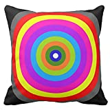Bags-Online Decorative Square Colorful Rainbow Circles Polka Dots Pattern Pillow Case Covers Home Decor Design for Sofa Two Sides 16X16 inch