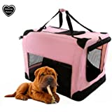 XL PET FOLDING PINK CANVAS CARRIER TRANSPORT CRATE 32IN
