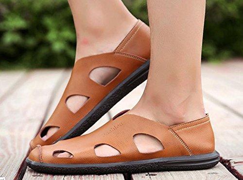 Chaussures En Cuir Sandales D'été Hommes Nouveaux Creux Sandales Hommes D'âge Moyen Hommes 4