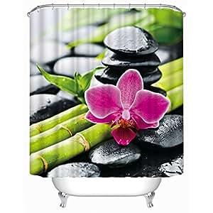GYMNLJY 3d fiore di pietra di bambù stampa muffa di poliestere impermeabile tenda doccia digitale tagliato appeso tenda tenda doccia vasca di bagno decorazione Blackout , 180*200