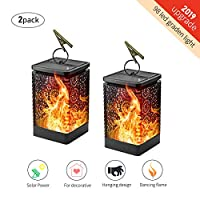 Solar Lantern Light,Solar Powered Hanging Lantern with Dancing Flickering Flame Dusk to Dawn Auto On/Off Waterproof Solar Flame Lights for Garden Patio Yard Decorative Atmosphere (2 Pack)