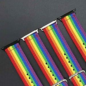 Yves25Tate Ersatz-Uhrenarmband justierbar, Nylon-Material Regenbogen Watch Straps, Für Apple Watch iWatch iOS Uhr 1 2 3