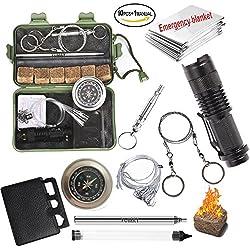 Yumay - Kit de supervivencia 10 en 1 multiusos, herramientas de emergencia para el exterior, instrumentos para hacer fuego, para ir de aventura, caza, viaje o pesca.