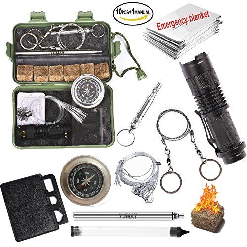 Notfall Survival-Kits Mehrzweck Überleben Werkzeuge Outdoor Notfall Gear-Set Lagerfeuer Werkzeug für Camping Abenteuer Wandern Jagd Klettern Reisen Angeln
