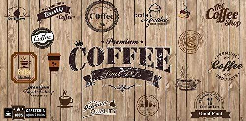 3D Fototapete Wandbild 200 cm x 150 cm Holz Schattierung retro Coffee-Shop-Label Vliestapeten Wandbild Wohnzimmer Wohnkultur Malerei