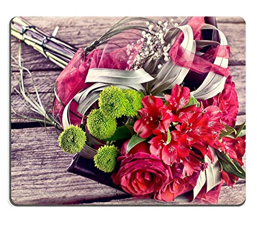 Mouse Pad Natural Rubber Mousepads Vintage Wedding Bouquet on Old Wood Bouquet Natural Wood