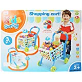 Planet Of Toys 3 In 1 Shopping Cart With Induction, 19 Fruits And Vegetables, Cartons And Currency For Kids, Children