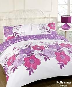 Pollyanna Purple Floral White Pink Lilac King Size Duvet Quilt Cover Bedding Set