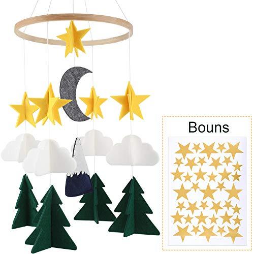 VORCOOL Techo de Guarder/ía Mobile Moon Stars Decoraciones Colgantes para Baby Shower Habitaci/ón de Baby Nursery Pink Moon y Golden Stars
