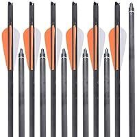 MEJOSER 8pcs Flechas Carbono para Ballesta 16 22 Pulgadas Flechas Caza Flechas Tiro con Arco (22 Pulgadas)