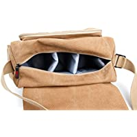 DURAGADGET Tan-Brown Large Canvas Carry Bag / Case With Multiple Adjustable Storage Compartments and Long Shoulder Strap for DSLR / SLR / Compact Cameras
