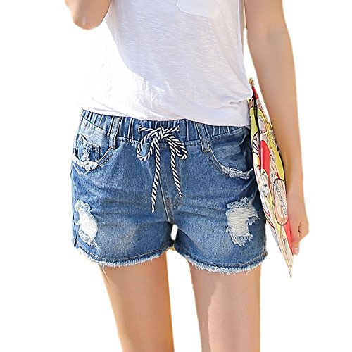 Insun Donna Cotone elastico in vita Ripped Distressed Denim Short Jeans Blue 44