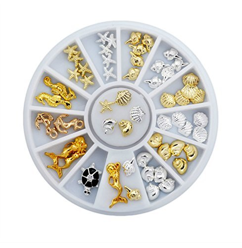 Sea Style Shell Starfish Mix Design 3D Alloy Nail Art Rhinestone Studs Nail Art Decoration Wheel Set DIY Nail Tools by GDRAVEN