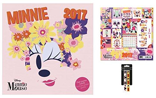 Set: Minni, Calendario Ufficiale 2017 (30x30 cm) E 1x Braccialetto (10x2 cm)