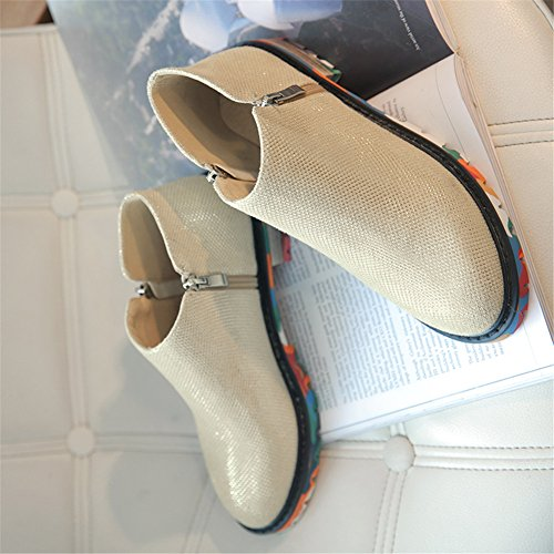 Cuckoo 3cm Chenilles semelle Bottes Faible Zip Chaussures femme talon Beige