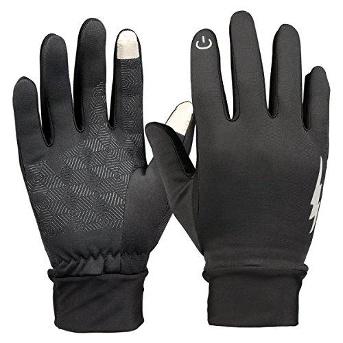 Touchscreen-Handschuhe, HiCool Touch Gloves Smartphone Handschuhe für Radfahren, Motorradfahren, Wandern und andere Outdoor-Aktivitäten (Schwarz, M)