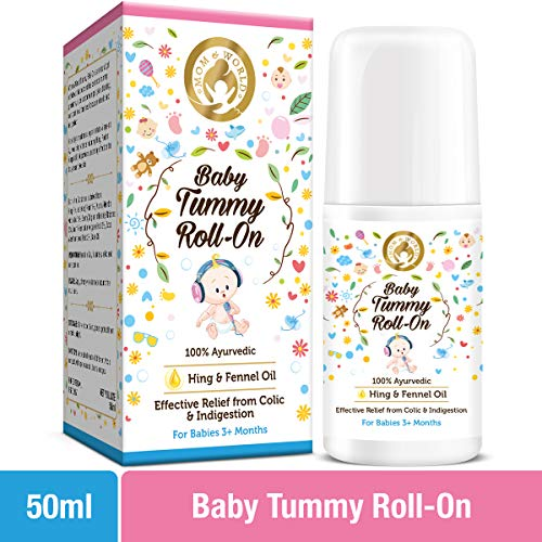 Mom & World Baby Tummy Roll On for Digestion & Colic Relief with Hing & Fennel 50 ml