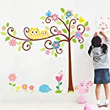 Ascent Decals Extra Large Wall Sticker For Kids Room Tree & Bird Owl Animals Wall Decal Wall Art (Finished Size On Wall 160 Cm X 150 Cm)