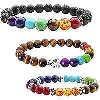JOVIVI 3x Lava-Armband Damen Herren Energietherapie Yoga-Armband Tigerauge 7 Stein Chakra Healing Balance Buddha-Armband preisvergleich bei billige-tabletten.eu