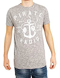 """Friend or Faux Mens Space Pirate Radio Anchor Crew Neck T-Shirt (X Large - 42"""", Grey Space Dye)"""
